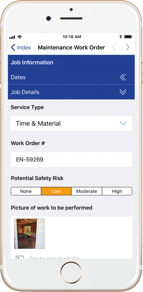 ProntoForms Maintenance Work Order form on an iPhone