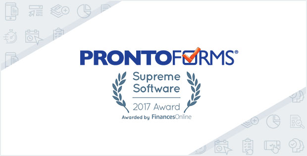 FinancesOnline 2017 Supreme Software Award presented to ProntoForms