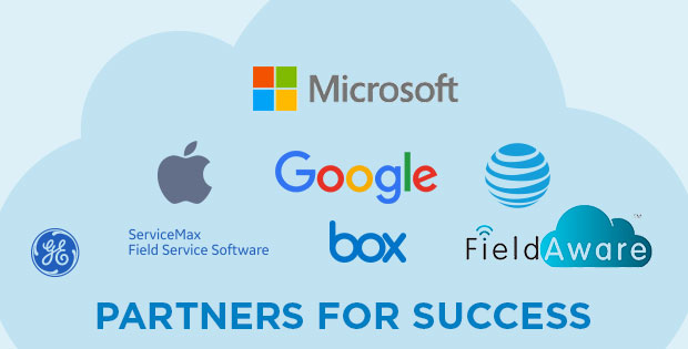 Partners for Success: Microsoft, Apple, Google, AT&T, ServiceMax, Box, Field Aware