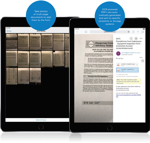 Take photos of multi-page documents to add them to the form. OCR powered PDF's are automatically generated and sent to specific recipients or storage systems.