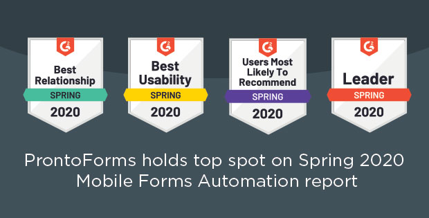 ProntoForms holds top spot for spring 2020 mobile forms automation report